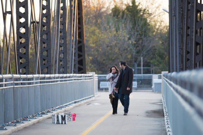Engagement Proposal Ideas in Dallas Love Locks Bridge