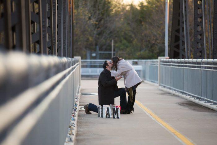 Marriage Proposal Ideas in Dallas Love Locks Bridge