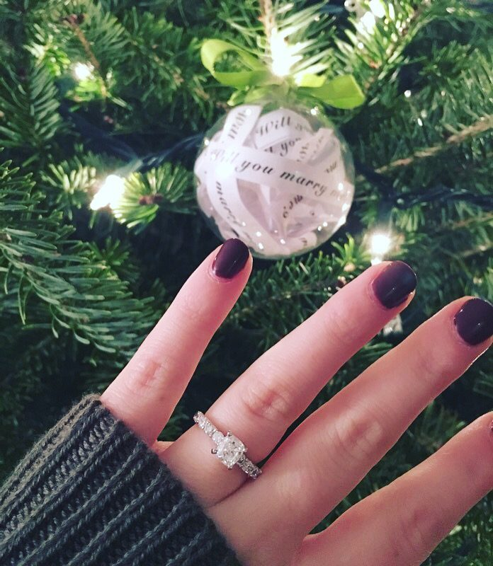 Engagement Proposal Ideas in At home by the Christmas tree