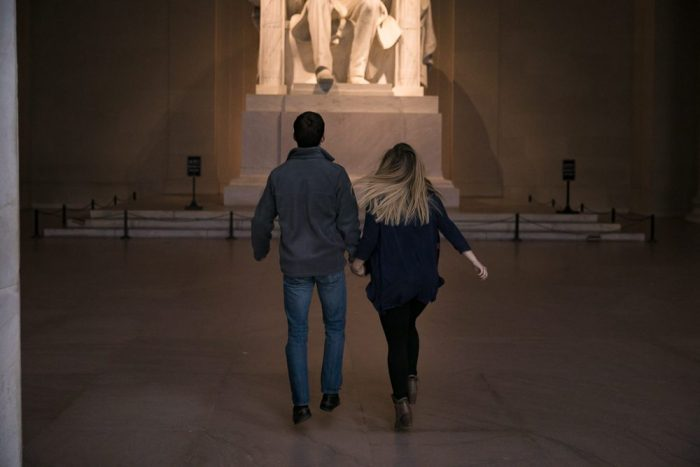 Annie and Brendan's Engagement in Lincoln Memorial, Washington, D.C.