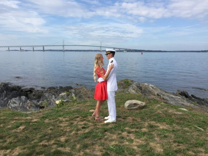 Madison Marie and Karl Douglas's Engagement in Newport Rhode Island Naval Base