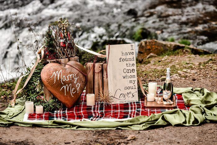 Bride's Proposal in Waterfall in Wisconsin
