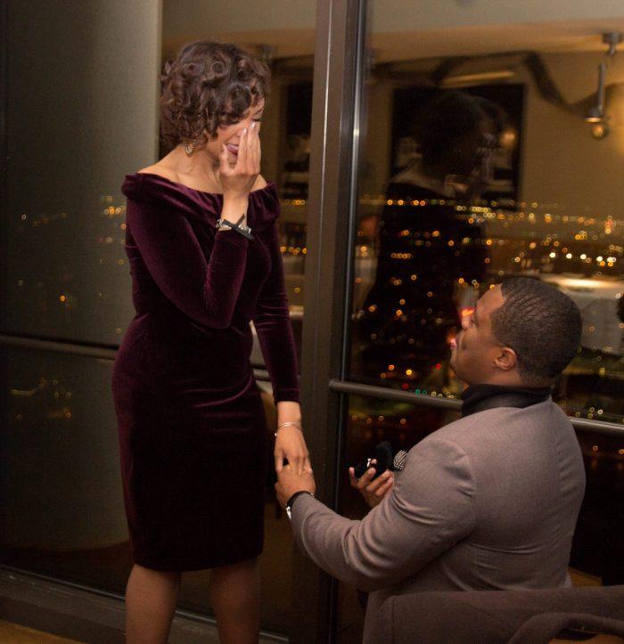 Nicquel and Andre's Engagement in Coach Insignia Restaurant in Detroit, MI