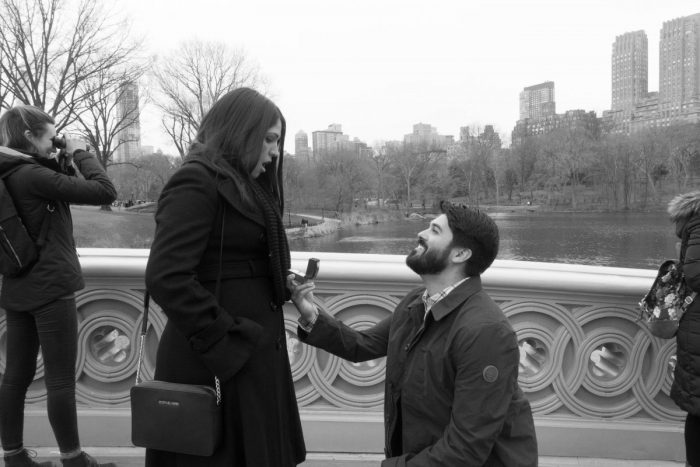 Cristina and Greg's Engagement in Central Park, Bow Bridge