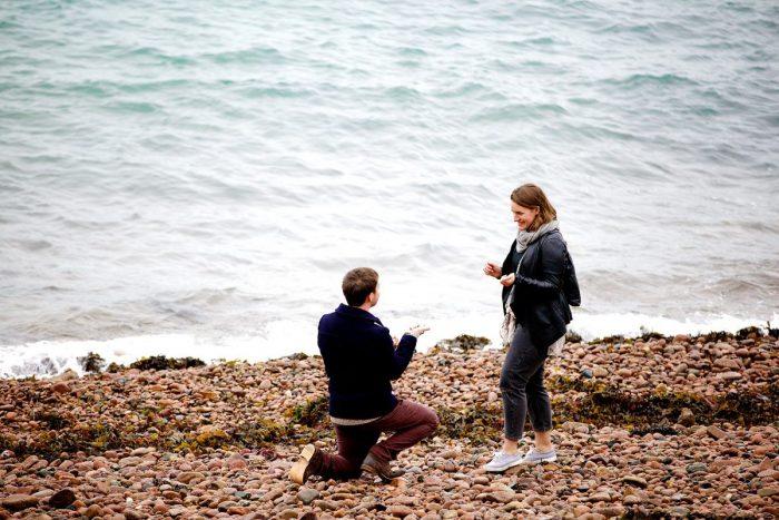 Marriage Proposal Ideas in The bay below Mont Orgueil Castle, Jersey Channel Islands