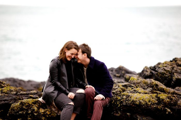 Britta and Dan's Engagement in The bay below Mont Orgueil Castle, Jersey Channel Islands