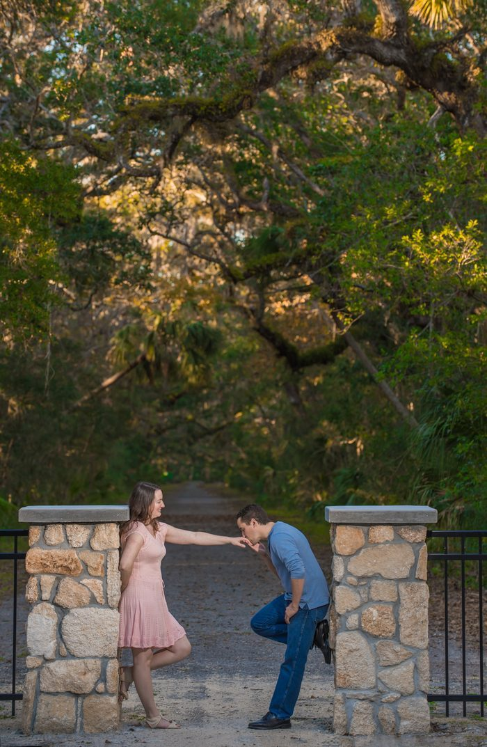 Bride's Proposal in Washington Oaks Gardens State Park, Florida
