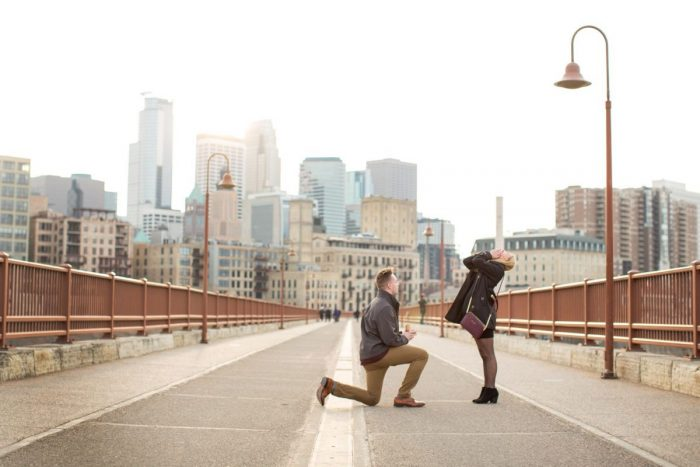 Caylee and Lee's Engagement in Stone Arch Bridge Minneapolis
