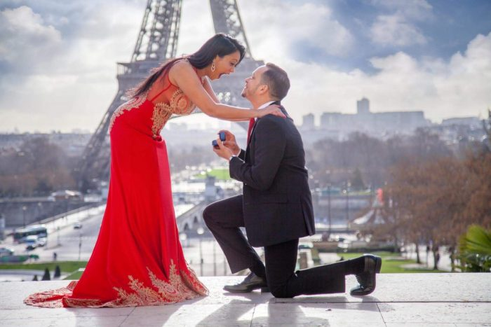 Candice and Alex's Engagement in París, France in front of the Eiffel Tower