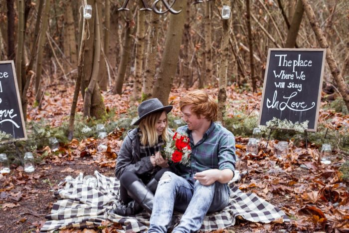Wedding Proposal Ideas in In the woods by the place we met