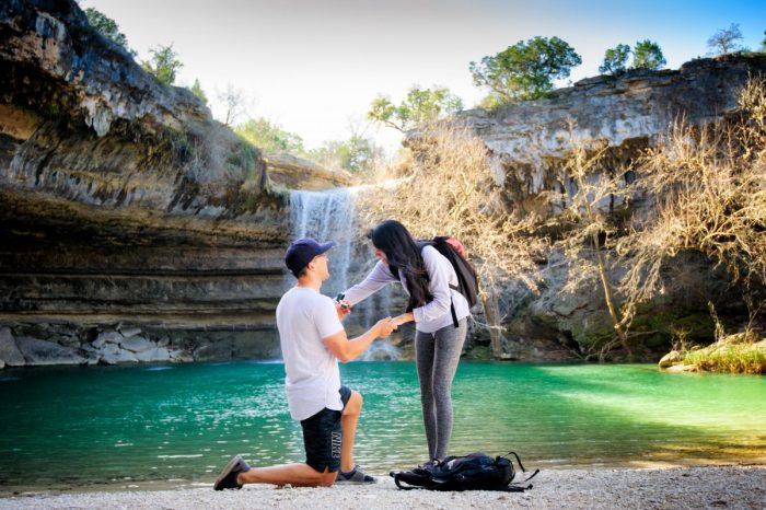 Sara and Wesley's Engagement in Hamilton Pool - Austin, TX