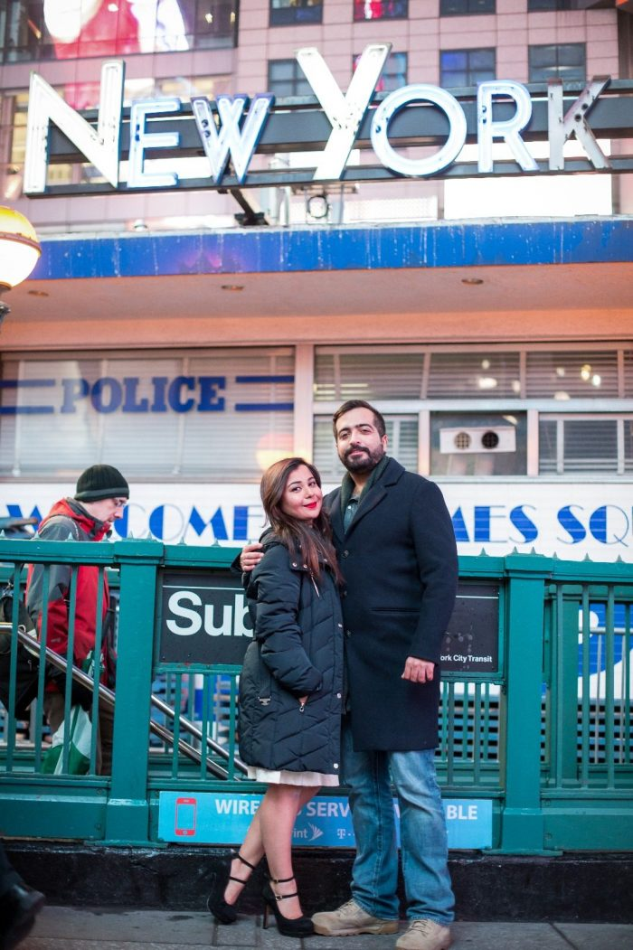 Sophia and Varshik's Engagement in Times Square