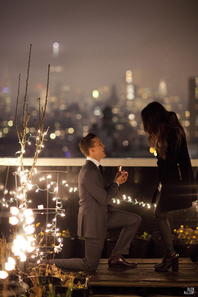 couple on rooftop as romantic place to propose