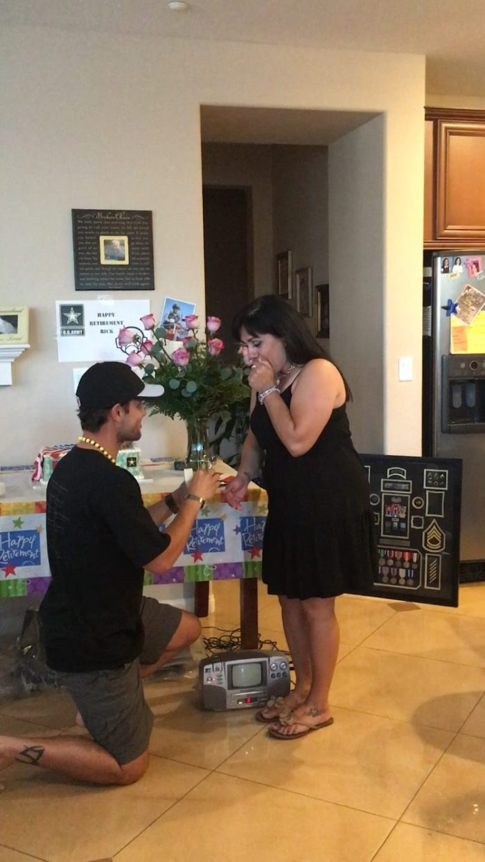 Rose's Proposal in our home at his Army Retirement Party