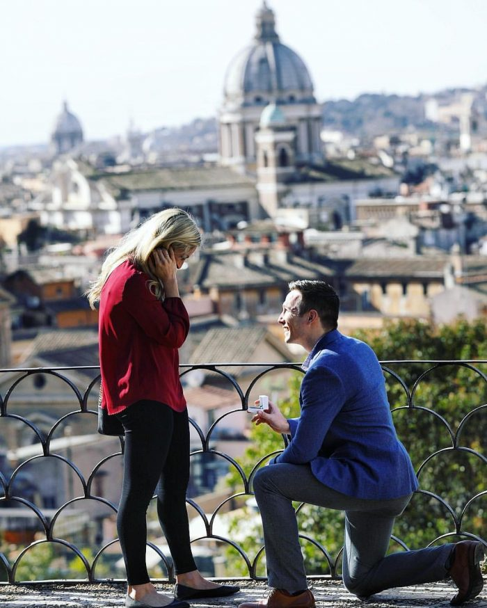 Alysha and Tommy's Engagement in Villa Borghese Gardens in Rome