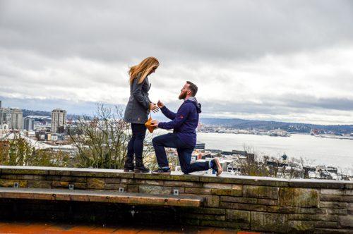 Marriage Proposal Ideas in Kerry Park in Queen Anne neighborhood of Seattle