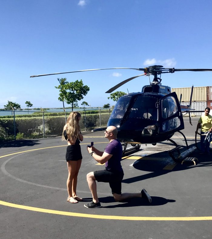 Engagement Proposal Ideas in In a helicopter ride over Oahu, Hawaii