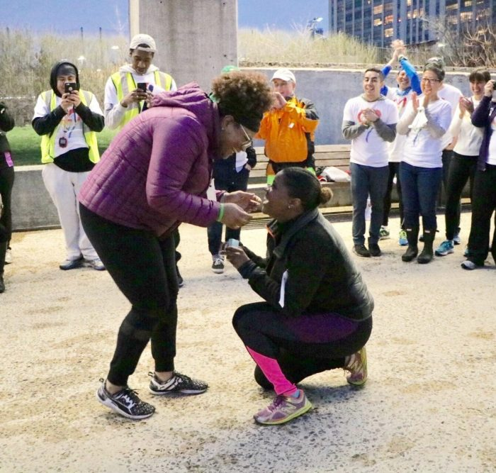 Marriage Proposal Ideas in NYRR Open Run at Brooklyn Bridge Park