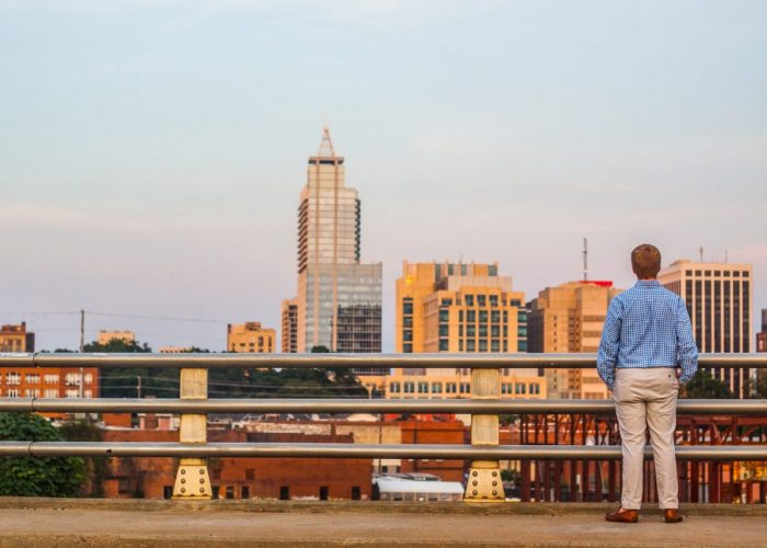 Where to Propose in A bridge overlooking the Raleigh skyline