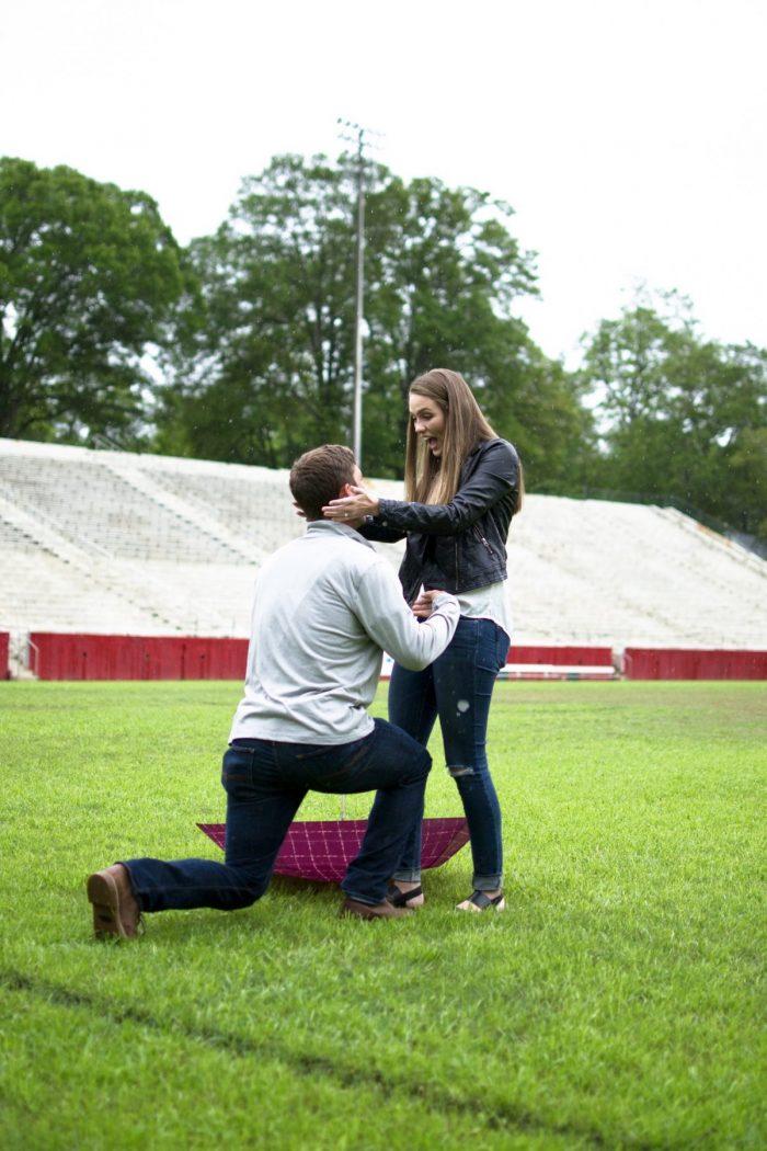 Caroline's Proposal in Sirrine Stadium