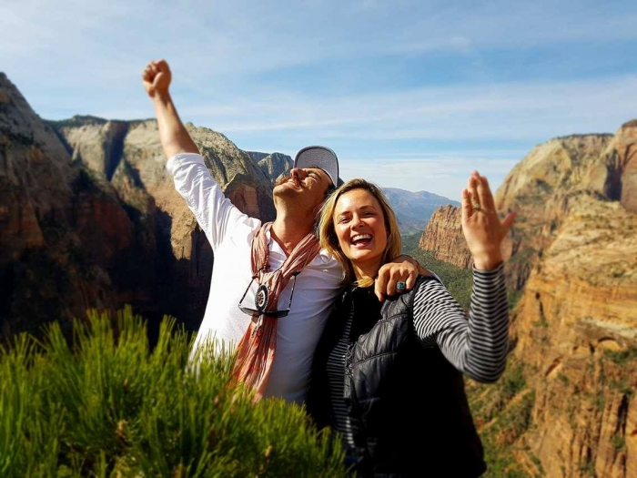 Jemma's Proposal in Angels Landing, Zion National Park