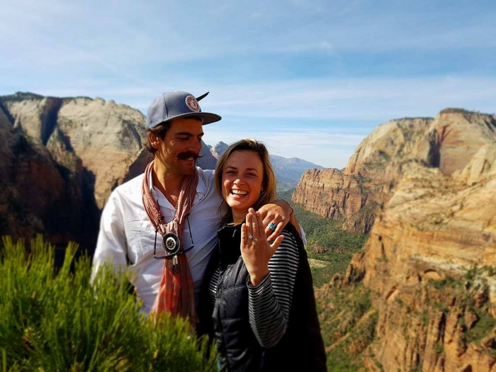 Jemma and Alexander's Engagement in Angels Landing, Zion National Park