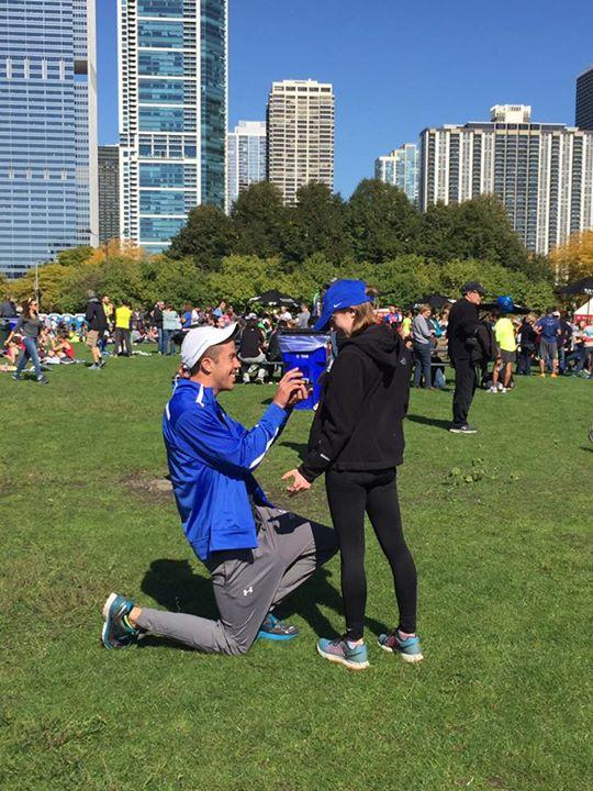 Marriage Proposal Ideas in The Bank of America Chicago Marathon post race party