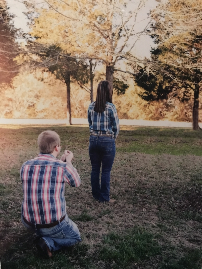 Katie's Proposal in In front of a barn