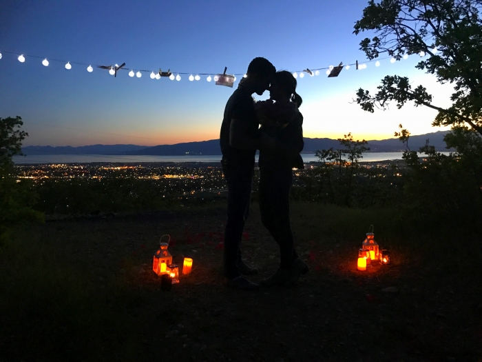 Wedding Proposal Ideas in The proposal took place on a lookout up Dry Canyon Trail above Lindon Utah. The lookout overlooked all of Utah Lake.