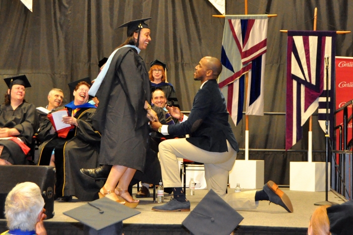 Lindsey's Proposal in Master's Graduation Ceremony