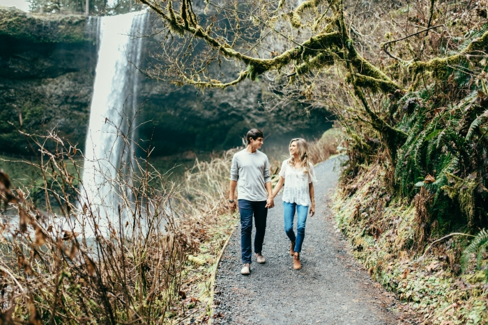 Wedding Proposal Ideas in At the base of South Falls in Silver Falls State Park