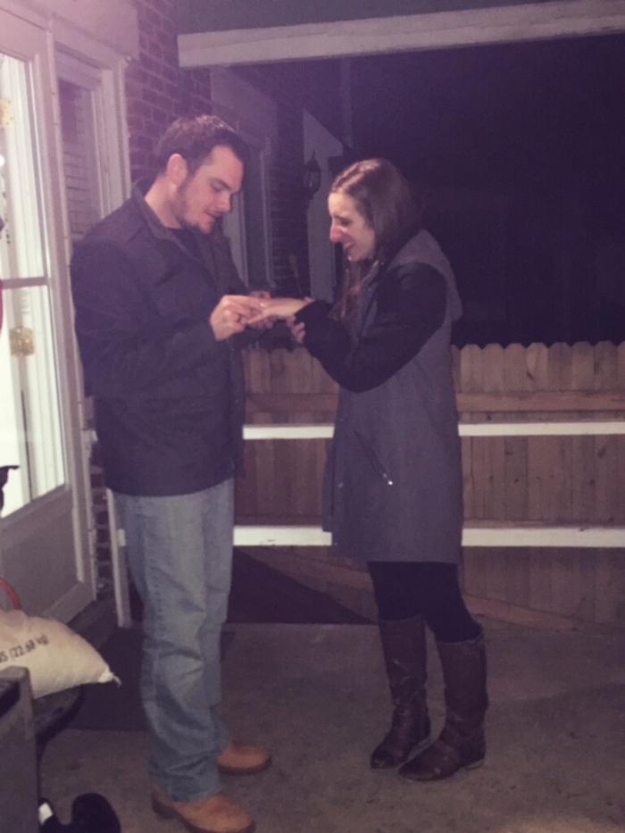 Alison's Proposal in Out back on the porch
