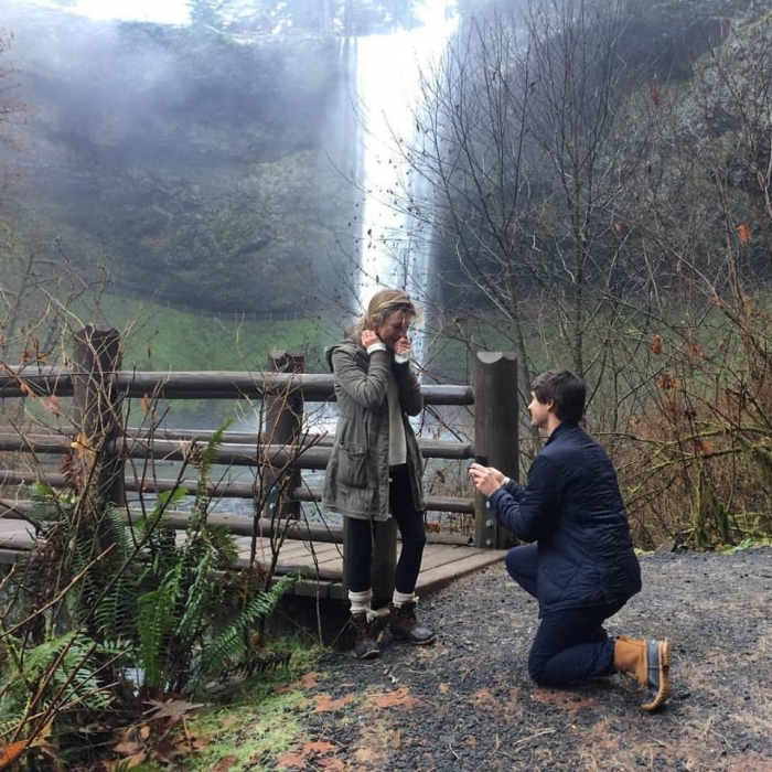Where to Propose in At the base of South Falls in Silver Falls State Park