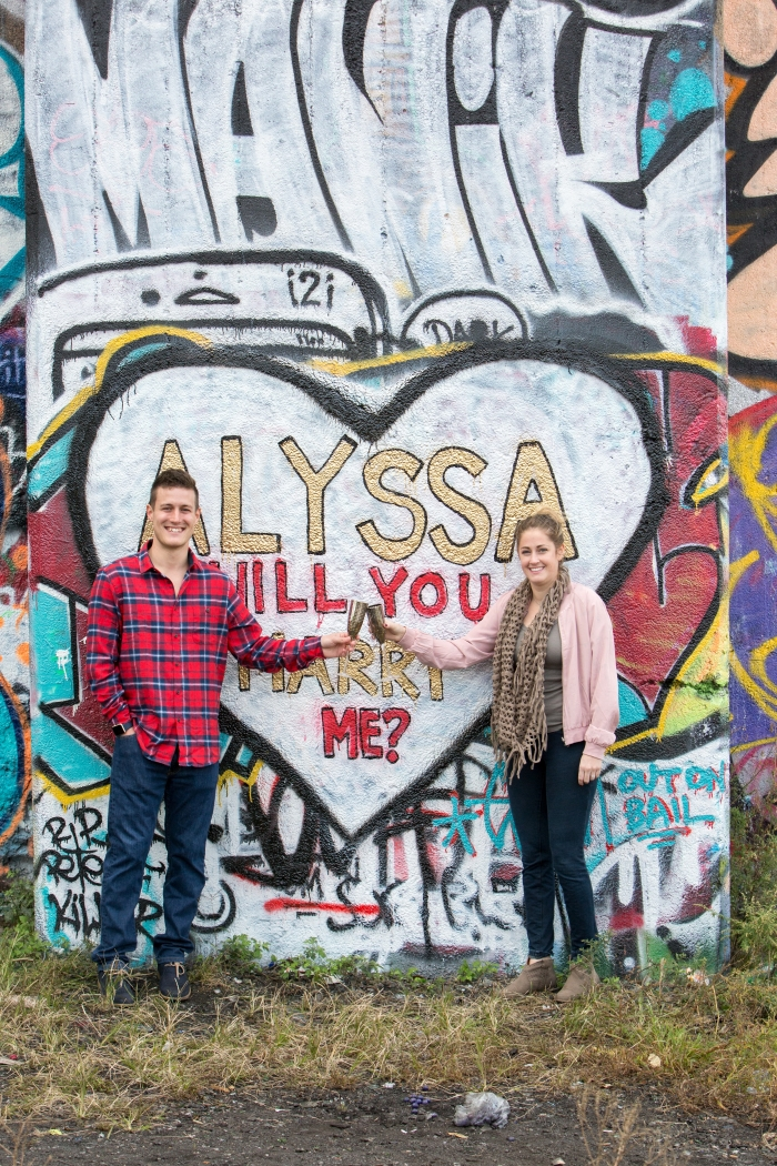 Alyssa and Charlie's Engagement in Graffiti Pier- Philadelphia, PA