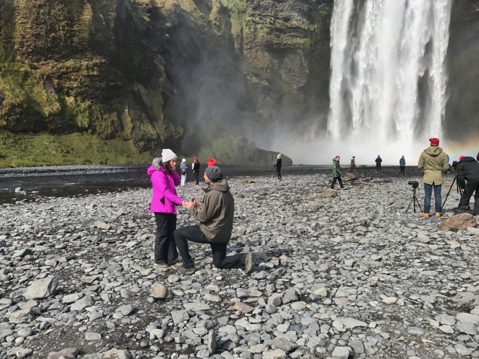 Danielle and Andre's Engagement in Skogafoss waterfall in Iceland