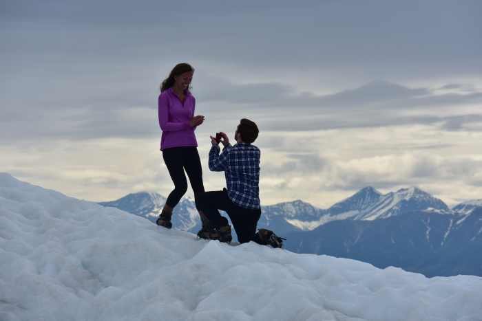 Meredith and Austin's Engagement in Kennecott, Alaska in Wrangell-St. Elias National Park