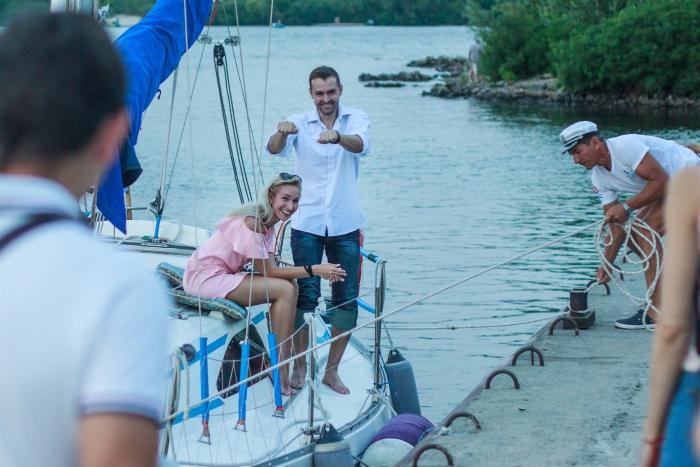 Yana's Proposal in Kiev, Dniper river, yacht