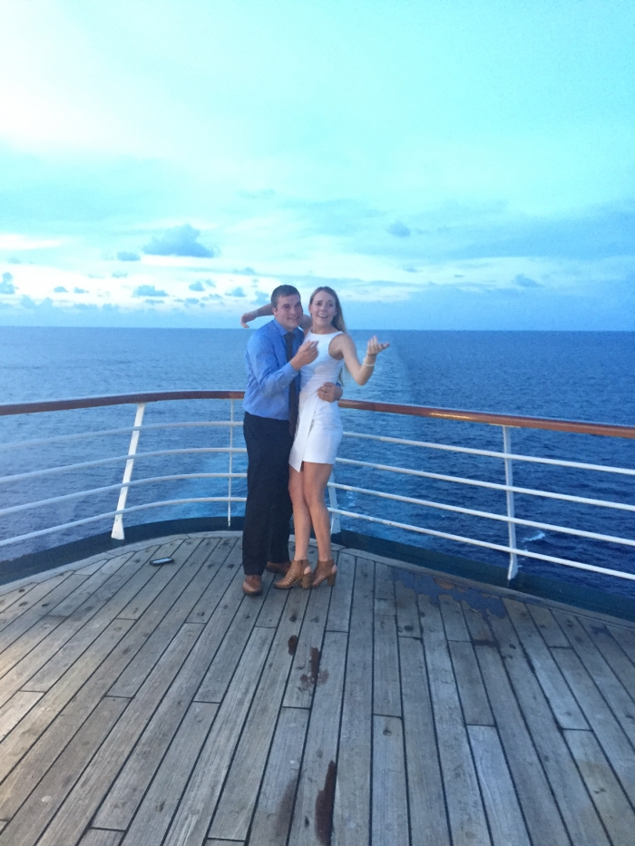 Engagement Proposal Ideas in On the Carnival Sensation cruise ship, as we were sailing through the Gulf of Mexico