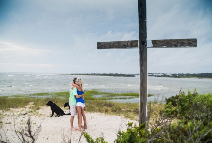 Leigh and Adam's Engagement in Sheep Island, NC
