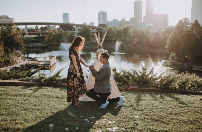 Katie and Tyler's Engagement in Centennial Park and the Admiral Drive-In