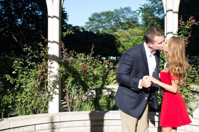Patrick's Proposal in Downtown Chicago at a gazebo surrounded by rose bushes.