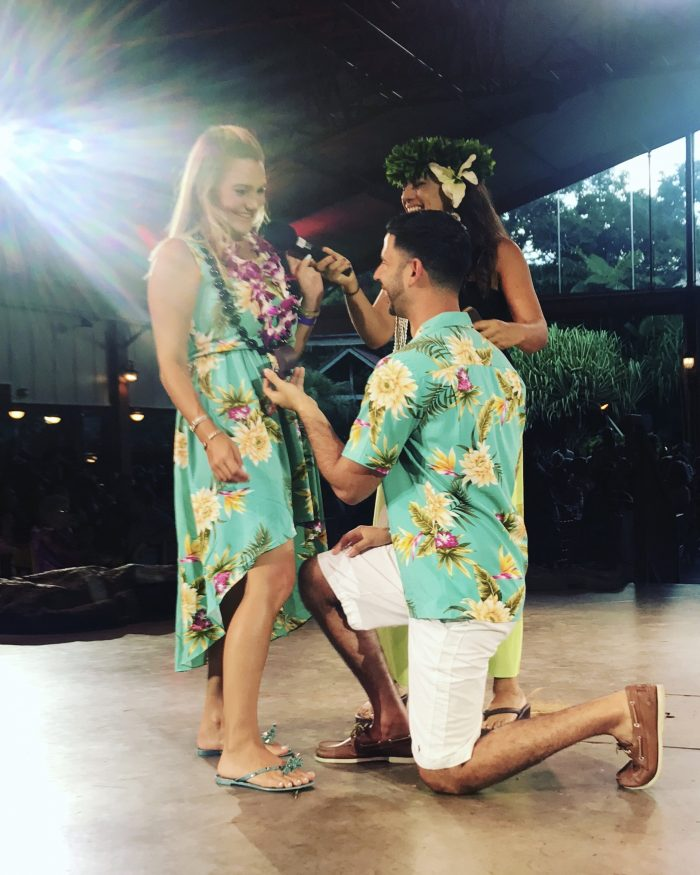 Wedding Proposal Ideas in Luau kalamaku in Kauai, Hawaii