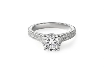 double row pave engagement ring