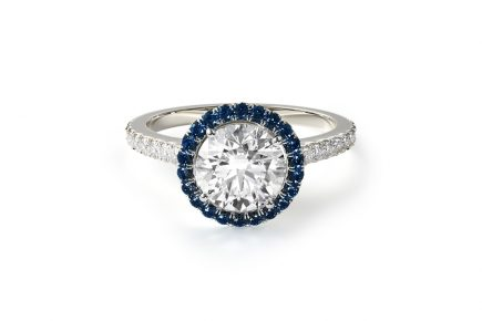 french cut pave blue sapphire engagement ring