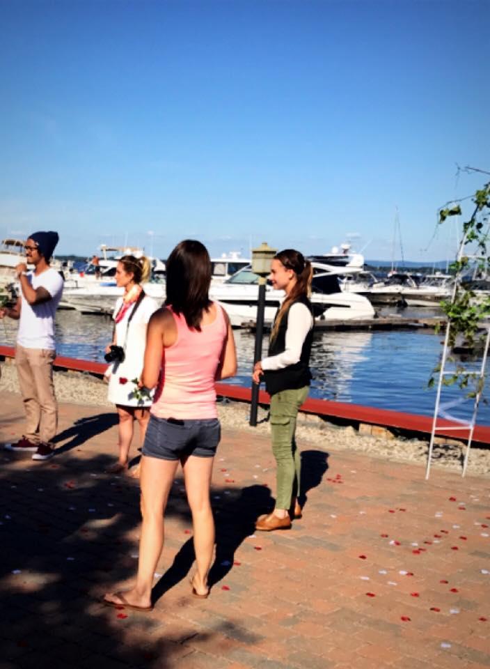 Shannon and Nastassia's Engagement in Cafe Mooney Bay Marina, Lake Champlain, NY