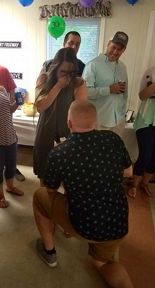 Marriage Proposal Ideas in At my Fiance's surprise 30th birthday party