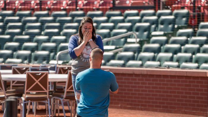 Rylee and Nolan's Engagement in Busch Stadium, St. Louis, MO