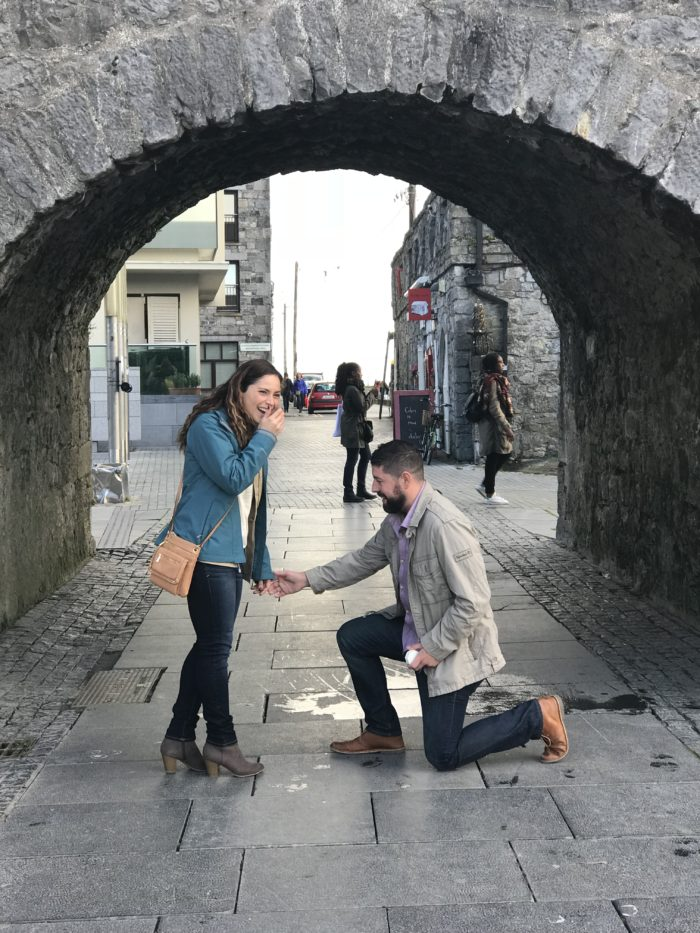 Courtney and John's Engagement in The proposal was in Galway, Ireland at the Spanish Arch
