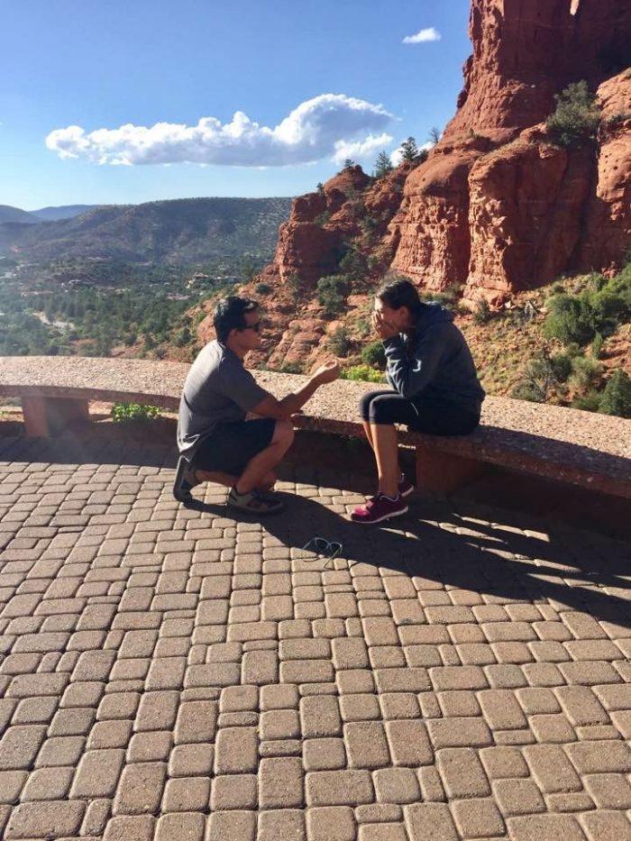 Wedding Proposal Ideas in Sedona Arizona, at the chapel on the Hill