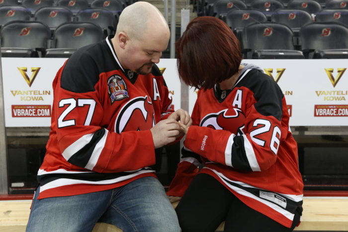 Marriage Proposal Ideas in New Jersey Devils' Player Bench